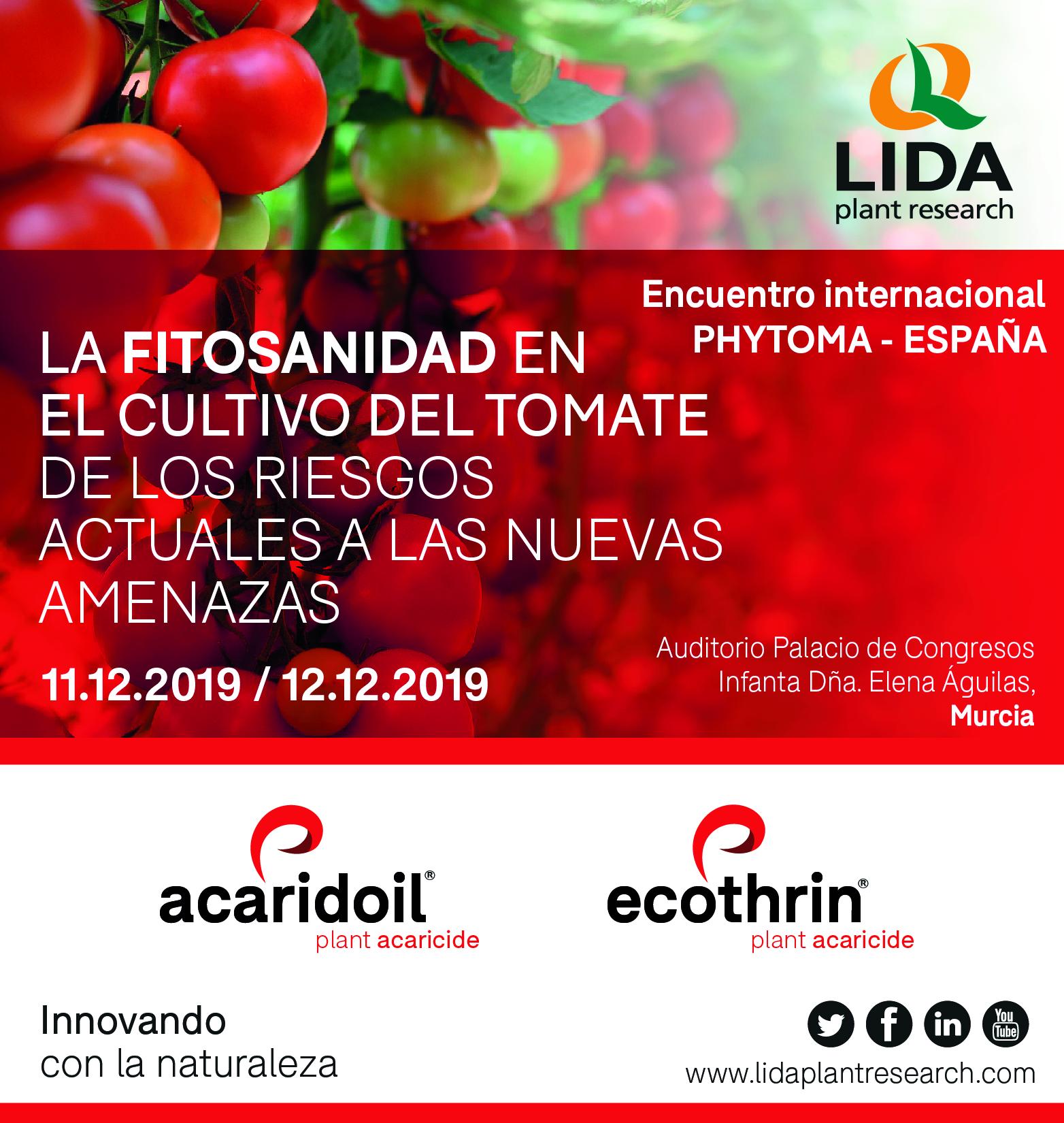 LIDA Plant Research mostrará sus soluciones contra plagas en el Encuentro Internacional Phytoma sobre el cultivo del tomate