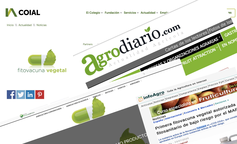 Fytosave, en los medios: Primera fitovacuna vegetal autorizada como producto fitosanitario de bajo riesgo por el MAPA